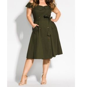 City Chic Commando Khaki olive green dress 20